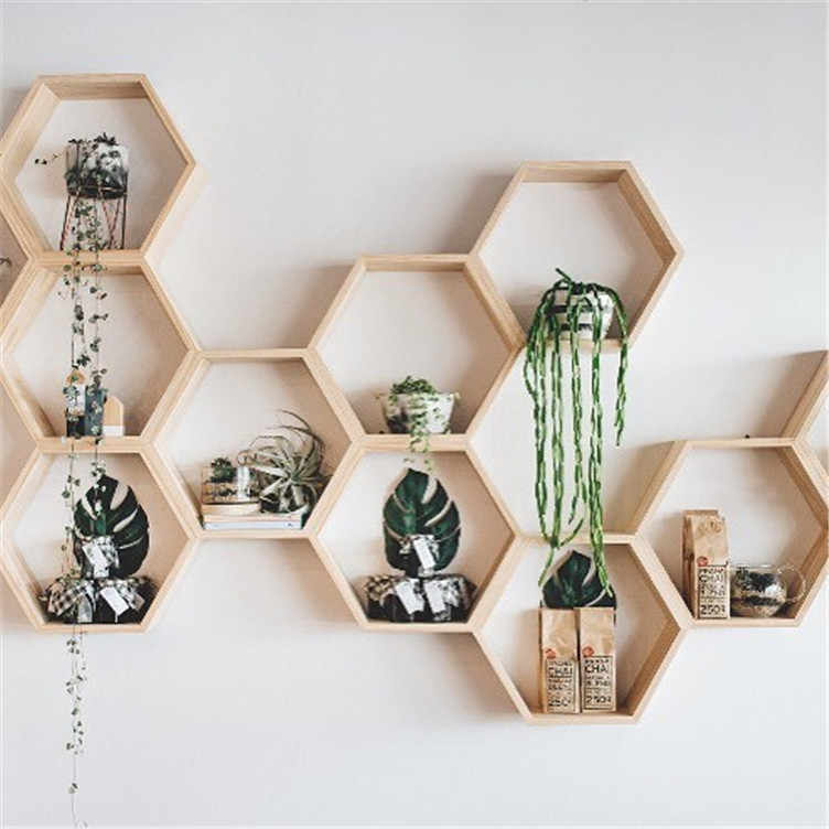 Baby Room Wooden Hexagonal Shelf Storage Wall Decorations Candy Organization Hanger Photography Props Shelves Storage Decor.jpg q50 Top 10 Wall Decoration Ideas