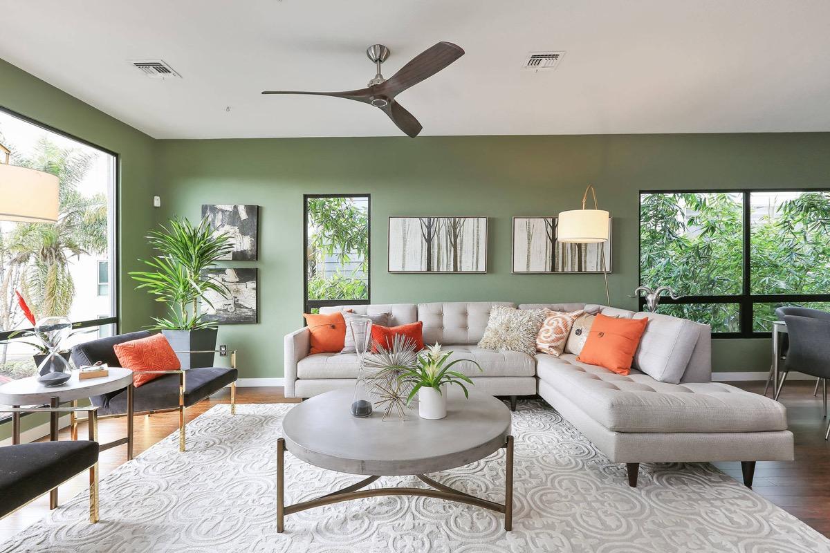 Modern L Shaped Sectional Couch in Green Living Room Top 10 Living Room Design